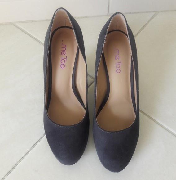 me too Shoes - Me Too Gray Suede Heels Size 8.5M